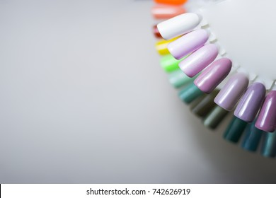 the color of Polish for manicure. design for nails. testers nail Polish.Fashion manicure. Shiny gel lacquer. feminine nail art.Nail art design wheel.Selective focus. Copy space