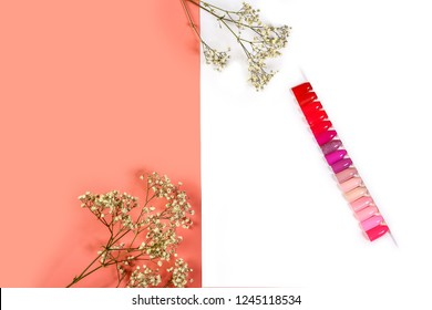 the color of Polish for manicure shades of pink. design for nails. testers nail Polish. Fashion manicure. Shiny gel lacquer. feminine nail art. Selective focus. Copy space.