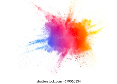 Color powder explosion on white background