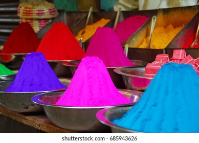 Color powder on sale to celebrate Holi Festival