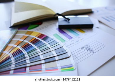 Color print of pantone statistics offset organization gives customer an order products for distribution during promotion concept