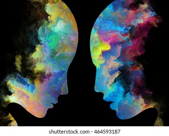 Color Profiles series. Abstract design made of textured human silhouettes on the subject of inner life, mind, personality, creativity and emotions