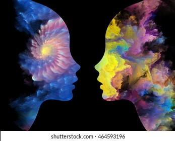 Color Profiles series. Background design of textured human silhouettes on the subject of inner life, mind, personality, creativity and emotions