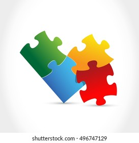 color puzzle pieces illustration design over a white background