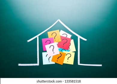 Color question mark in drawing house on blackboard