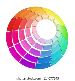 Color range spectrum circle round palette made of dimensional glossy plastic pieces isolated on white background