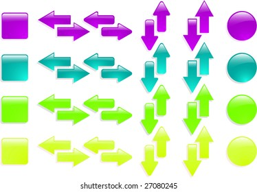 the color raster web arrow icon set