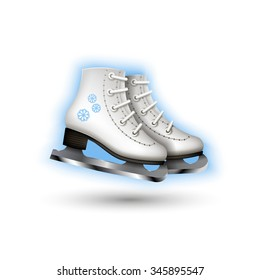 Color realistic 3d  illustration with a picture of a icon racing skates on white background.