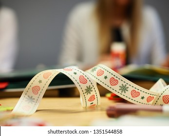 Color ribbon with pattern, artistic workshops