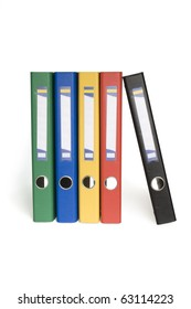 color ring binders in row and reflection