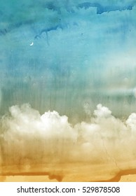 Color romantic sky background. Watercolor