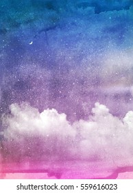 Color romantic sky background. Watercolor