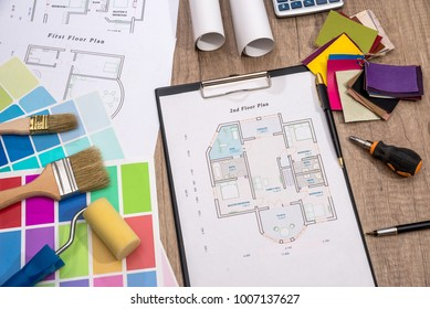 color sampler with house plan and drawing tools