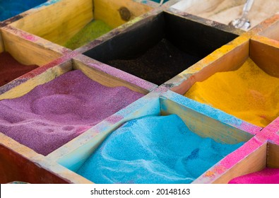 Color sands in boxes
