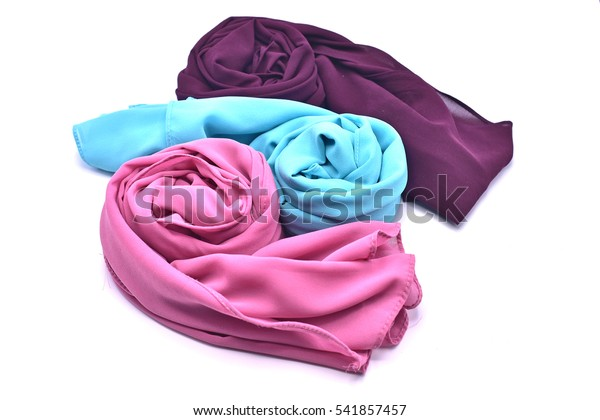 1ece3937a1 color scarf tudung or hijab, isolated with flowers head crown on white  background.
