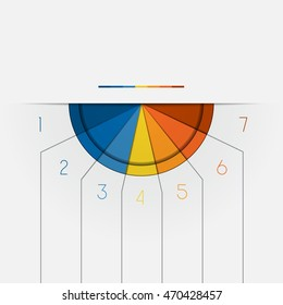 Color Semicircle downwards template for Infographic numbered on 7 positions