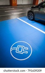 Color shot of a parking place for charging electric cars.