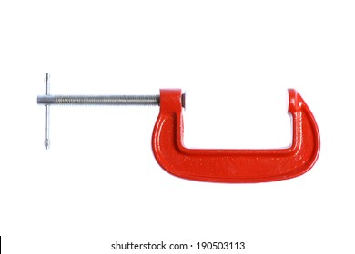 Color shot with a red vice isolated on white.