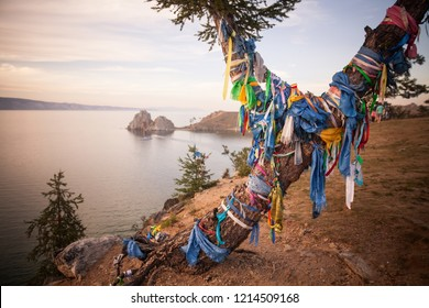Color shot of a shamanic tree on the Olkhon Island on the Baikal lake, in Russia.