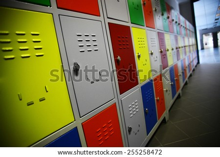 Color shot of some lockers in a highschool