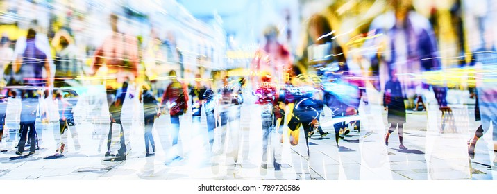 color silhouette of people in the city
