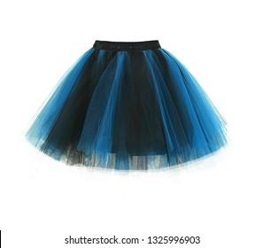 Color skirt tutu on white background.
