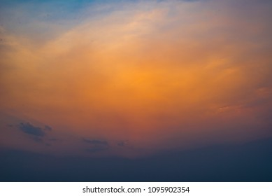 Color of sky at golden hour time in the evening for background with copy space