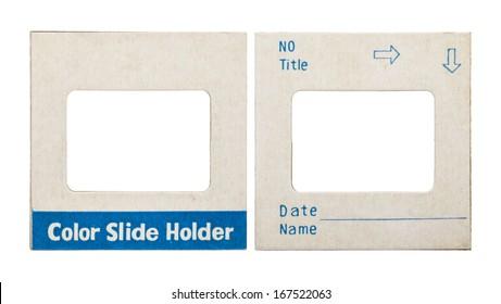 color slide holder card on white