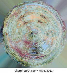 Color Spherical Painted Vintage Weathered Pattern. Abstract Round Messy Aging Style Element. Round Grunge Antique Background With Retro Texture. Art Backdrop, Wallpaper, Banner, Wrapping, Decoration