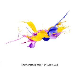 Color splashes isolated on white background