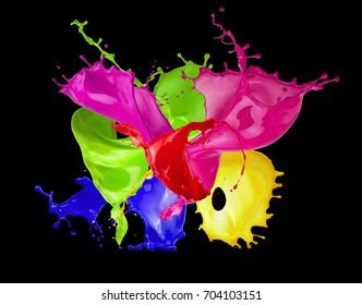 color splashes on a black background