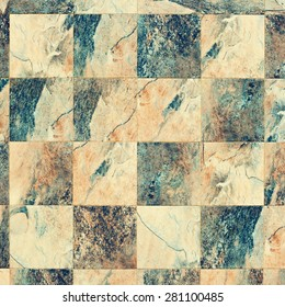 Color Square Surface of Wall from Tiles, Color Granite, Background. Toned