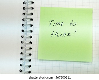 color sticker with motivating record as a note and message Time to think