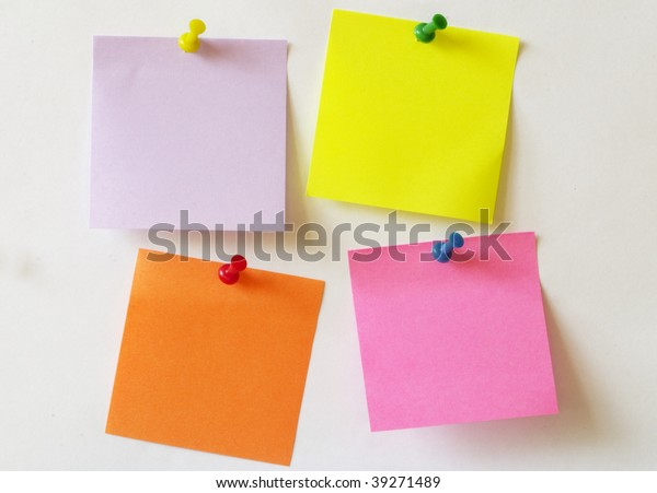 Color Sticker Notes Over White Paper Stock Photo (Edit Now