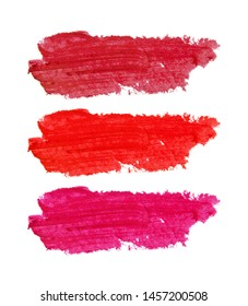 Color swatch smears of lipstick. Isolated on white background.
