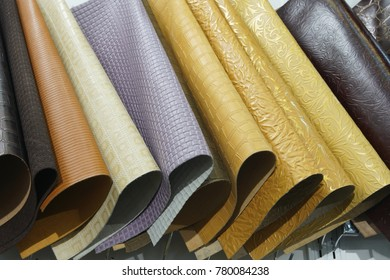 Color Swatches of leather cow hide in many style type in Row, Upholstery palette samples, Show in retail and trade fair to buyer around the world to buy difference type of surface and select pattern