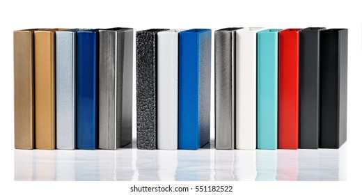 Color swatches powder coatings on metal profiles, on a white background