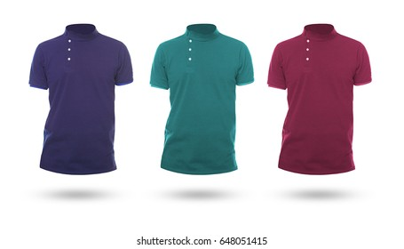 Color t shirts templates on the isolated white background