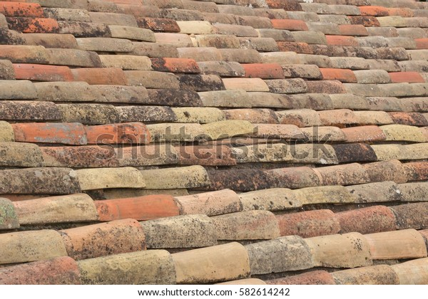 color tile roof surface closeup