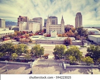 Color toned picture of Salt Lake City downtown, Utah, USA.