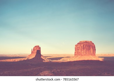 Color toned sunset over the Monument Valley, USA.
