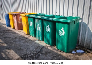 Color trash bins and recycling bin for waste at the public area or the park