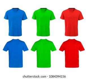 Color t-shirts design on white background