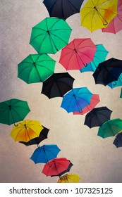color umbrella's with texture background