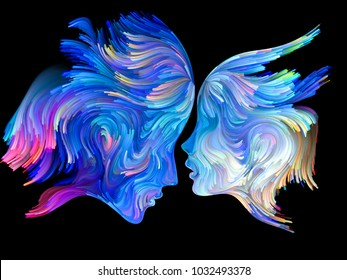 Color Unity series. Background composition of  human profiles executed with colorful paint on the subject of creativity, imagination, spirituality and art