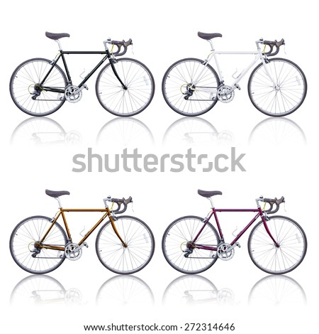 fcd58c4dde4 Color Vintage Road Bikes Shadow Isolated Stock Photo (Edit Now ...