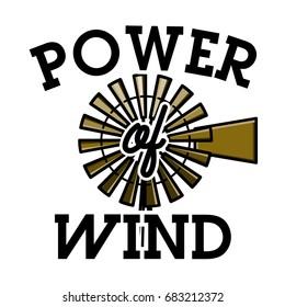 Color vintage wind power emblem label, badge and design elements.