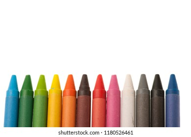 color wax pencils crayons isolated over white background