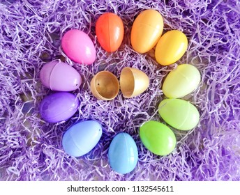 Color Wheel of Easter Eggs with a Golden Egg