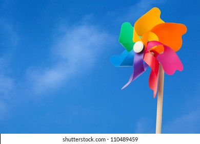 Color windmill under blue sky